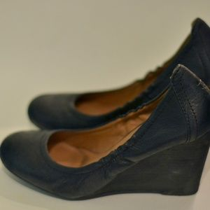 Lucky Brand Black Leather Wedges size 9